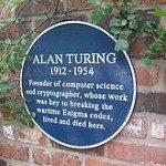 Plakat Alan Turing di rumah kelahirannya