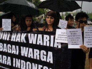 Aksi Hari Transgender (Foto: FB Swara)