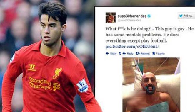 Pemain muda Liverpool, Suso Fernandez menyebut Jose Enrique gay di Twitter (Daily Mail)