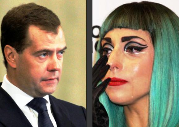 Perdana Menteri Rusia, Dimitry Medvedev. dan Lady Gaga (sumber gambar internet)