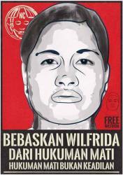 Poster tuntutan pembebasan TKI yang akan dihukum mati di Malaysia, Wilfrida Soik