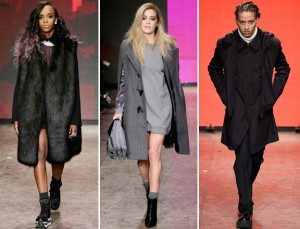 Angel Haze, Chelsea Leyland, dan A$AP Illz memeragakan busana DKNY Fall 2014 New York Fashion Week runway. Photo: Getty Images