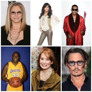 Barbra Streisand, Cher, R. Kelly, Magic Johnson, Gloria Vanderbilt dan Johny Depp. (Dok. Istimewa)